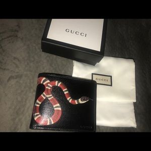 Men's Kingsnake Print Gucci Supreme Wallet